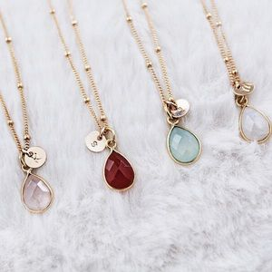 Jewelry - 14k Gold Filled Initial Disc Gemstone Necklace